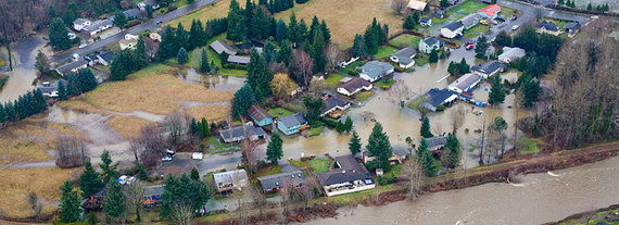 aerial view of a flooded neighborhood