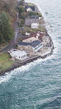 Aerial view of homes along Vashon shoreline