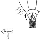 cartoon: hot air balloon being blown away from Seattle