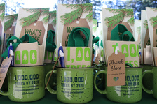 1 Million Trees mug with gifts inside