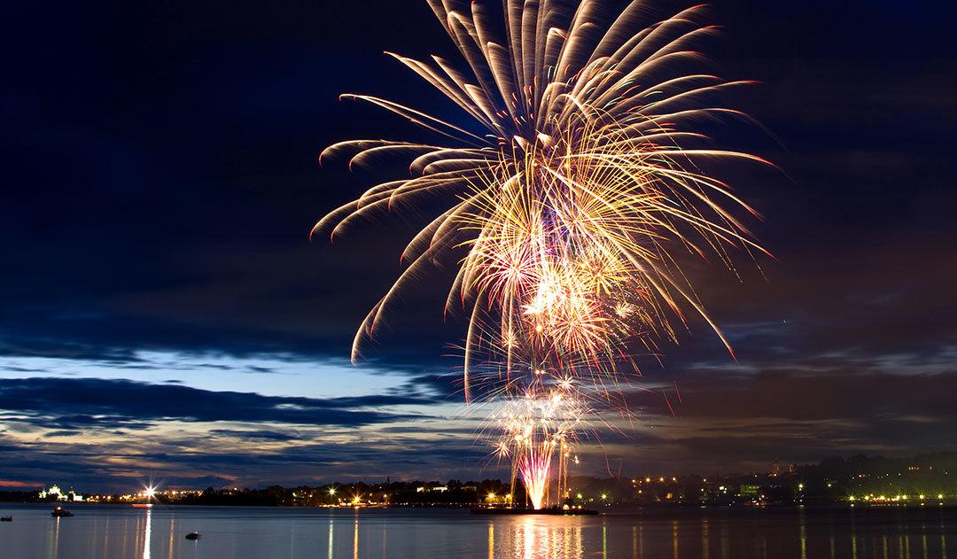 Firework display on shoreline