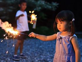 Children with sparklers