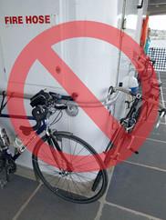 Bikes secured to vessel rail