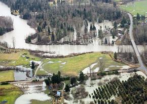aerial shot of flooding river