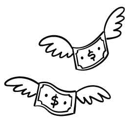 Sketch of dollars with wings