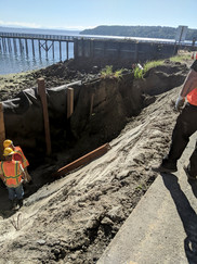 Workers in trench along waterfront