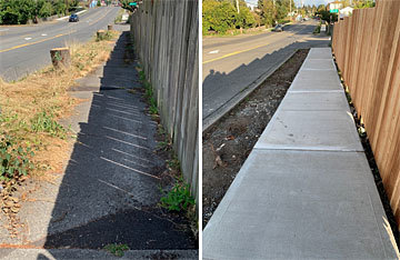 Before and after photos of sidewalk