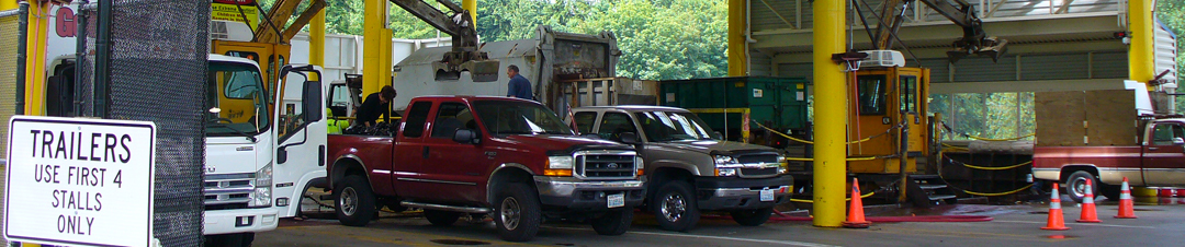 Trucks at a transfer station