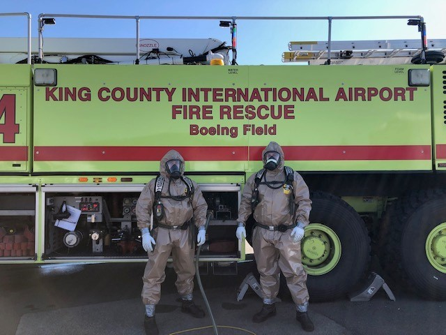 ARFF firefighters in foam gear