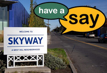 Welcome to Skyway sign