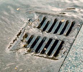 Water going in storm drain