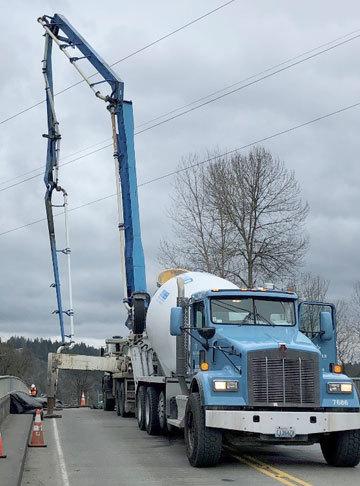 Concrete truck on bridge