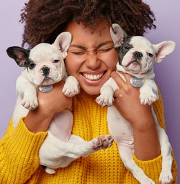 Woman with two cute dogs