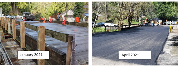 Two views of bridge work (January and April)