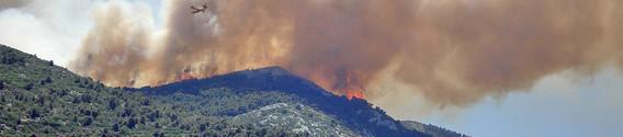 wildfire burning on hillside