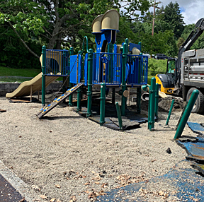 Old play area surface being removed