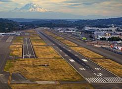 Airport runways with Mt. Rainier in background