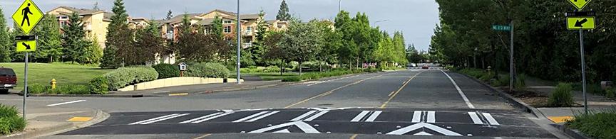 New raised crosswalk with clear markings