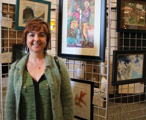 Artist with portrait