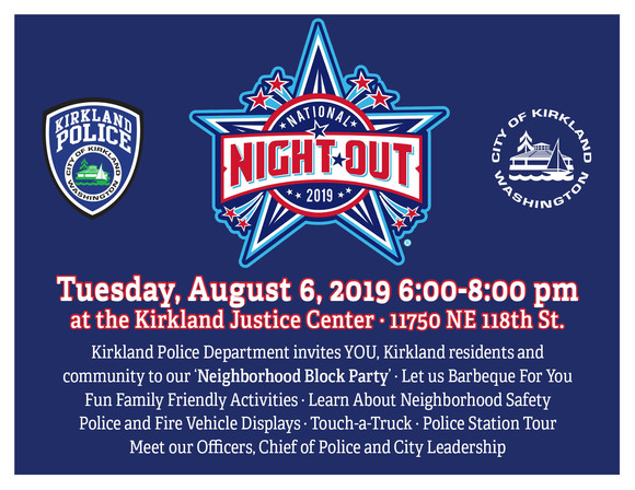 Logo and graphic for 2019 National Night Out neighborhood block party at the Kirkland Justice Center