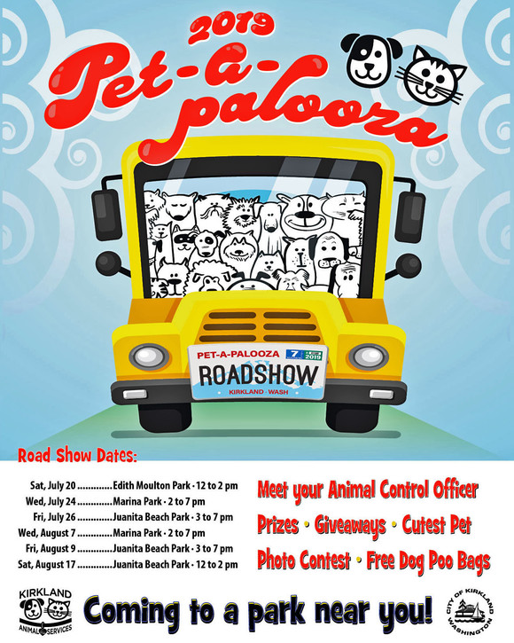 Image for Pet-a-palooza Road Show with cartoon image of dogs and cats on a bus