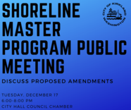 shoreline master program public meeting on December 17 from 6 to 8pm in Council Chamber