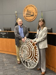 Dave Asher and Public Works Director Kathy Brown with seal