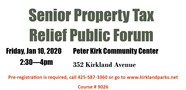 senior property tax relief forum