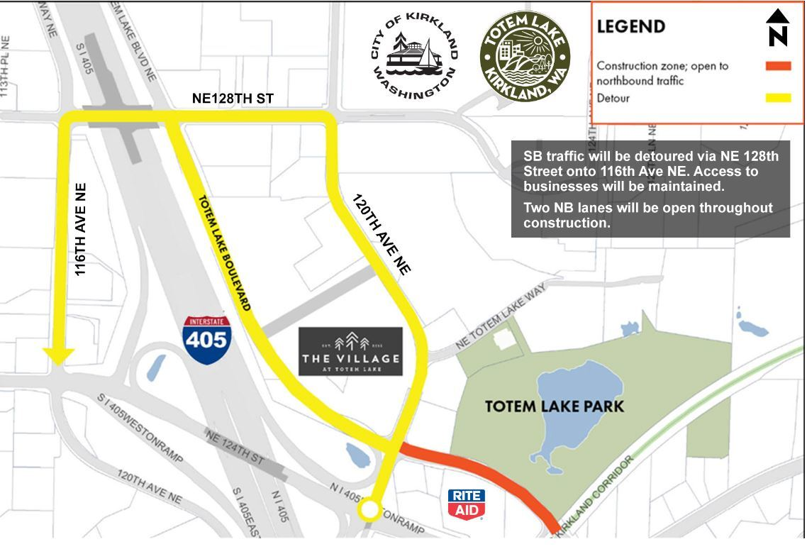 totem lake detour map