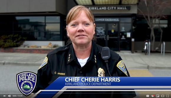 Chief Cherie Harris in front of City Hall
