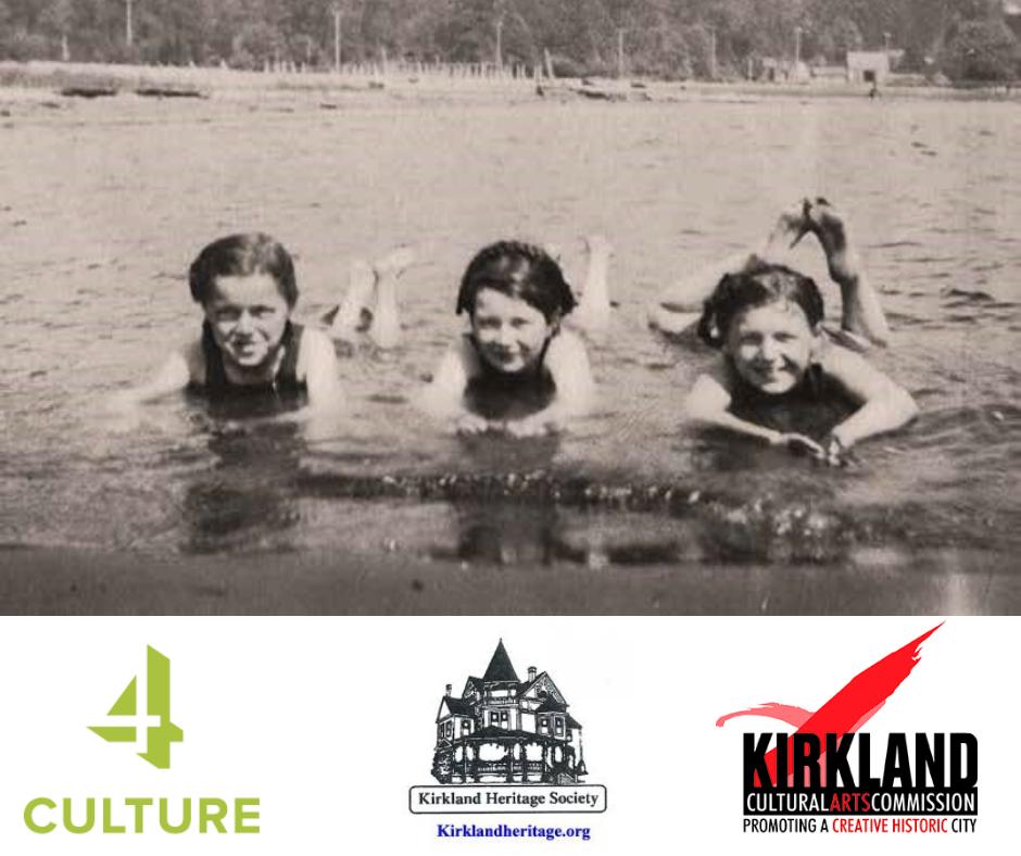 historic photo of three young girls in lake washington