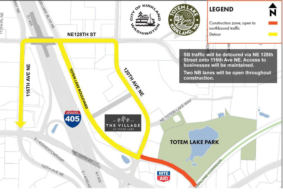 Totem Lake Detour Map