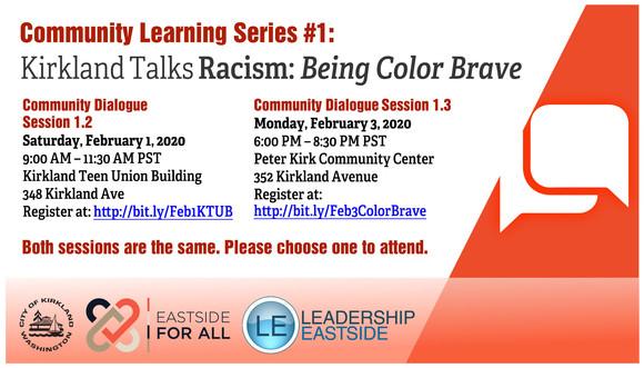 Kirkland Talks Racism flyer