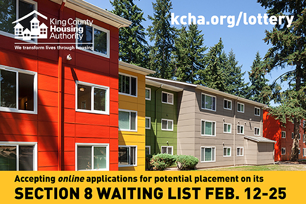 King County Housing Authority Section 8 Waitlist accepting applications Feb 12-25