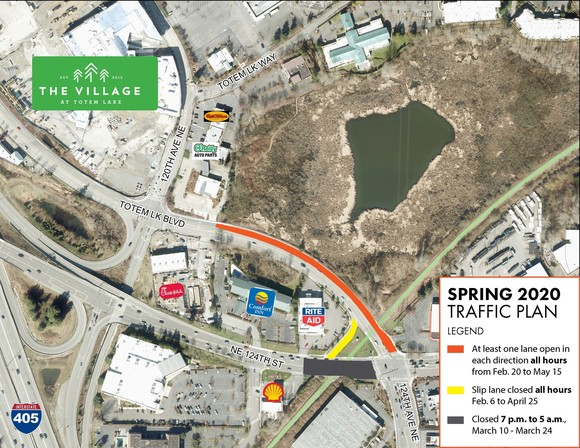 Map of Totem Lake for March 12 Traffic Updates