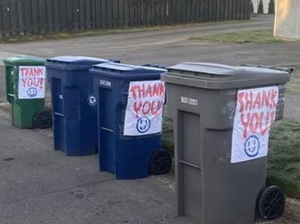 Garbage cans with positive message