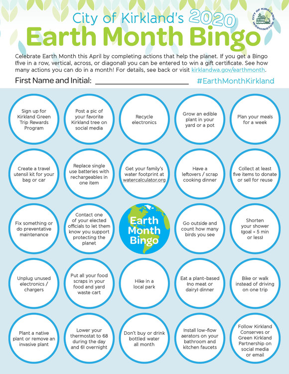 Earth Month Bingo card