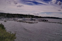 Downtown Kirkland waterfront Marina with dock and boats