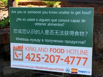 Picture of a sign announcing Kirkland's Food Hotline