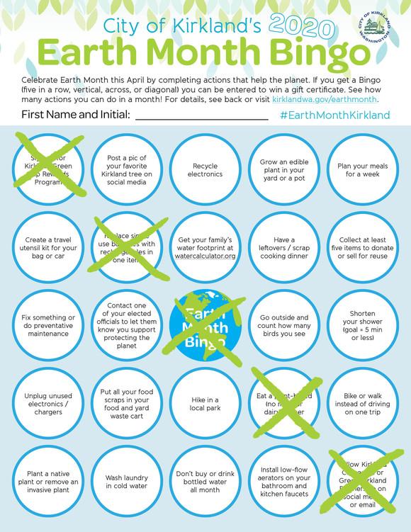 Earth Month Bingo Card with Bingo