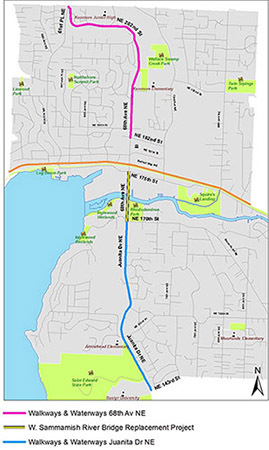 City of Kenmore construction projects in the Juanita Dr NE / 68th Ave NE corridor
