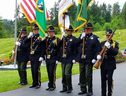 The Honor Guard at the Law Enforcement Memorial at Miller Woodlawn Memorial Park