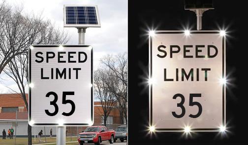 Flashing speed limit signs