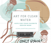 Design of jellyfish with the Art for Clean Water title and a link to the voting site