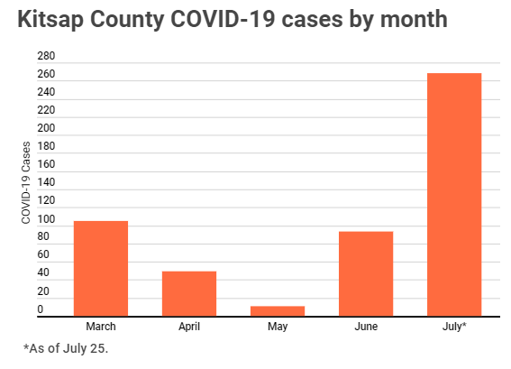 COVID-19 cases by month