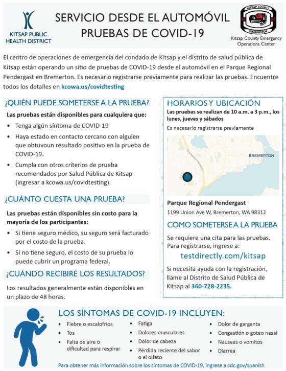 Spanish testing site info