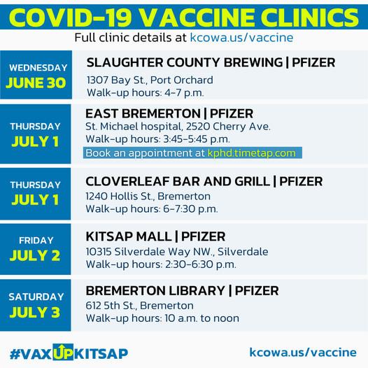 vaccine clinics week of June 30