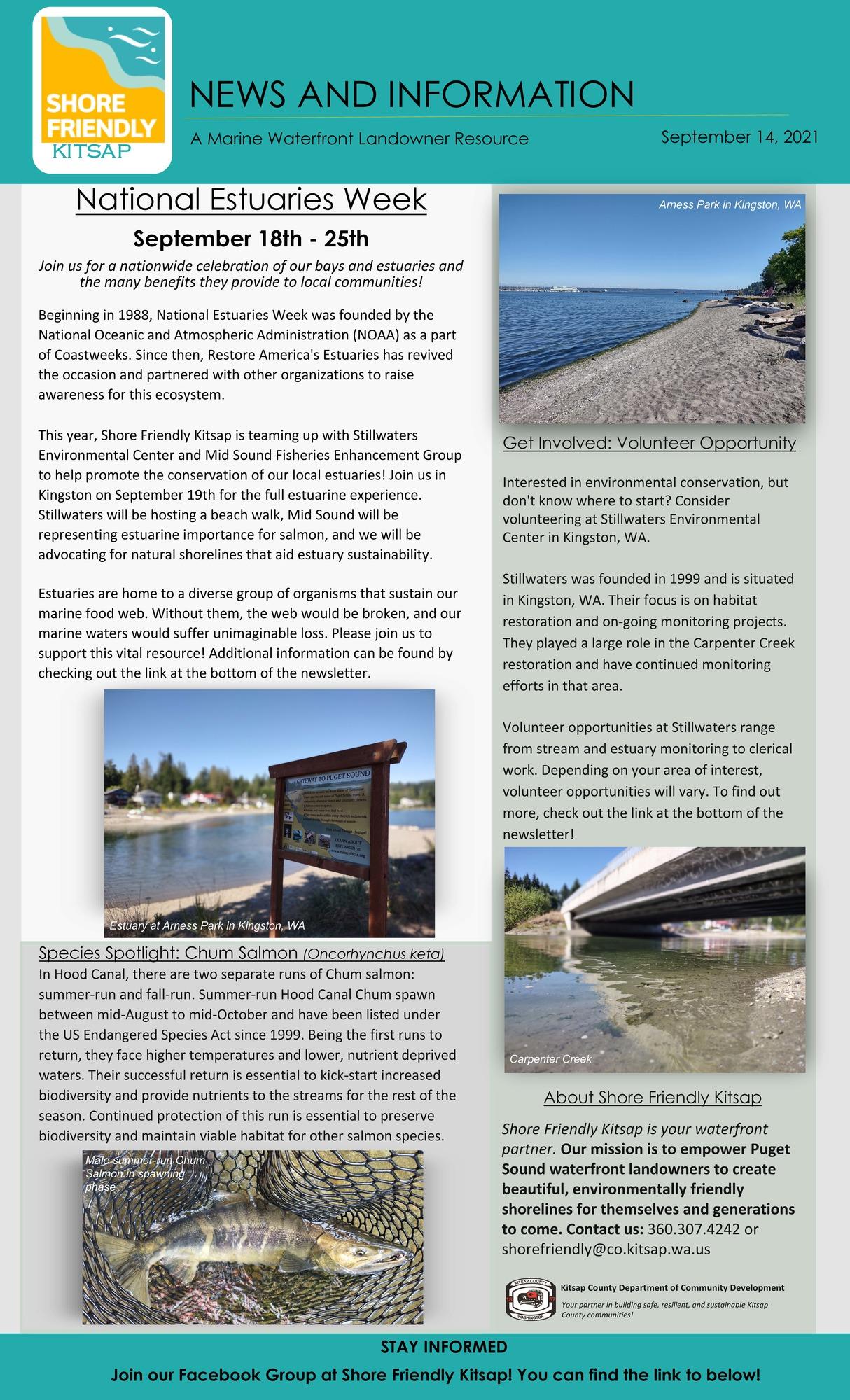 September 2021 Shore Friendly Kitsap Newsletter