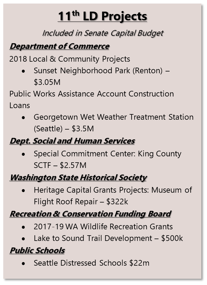 Senate cap budget projects 2017