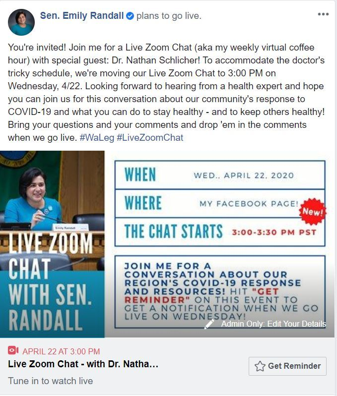 Live Zoom Chat on 4/22 at 3:00 pm